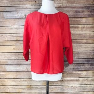 RACHEL Rachel Roy Coral Red Split Sleeve Blouse